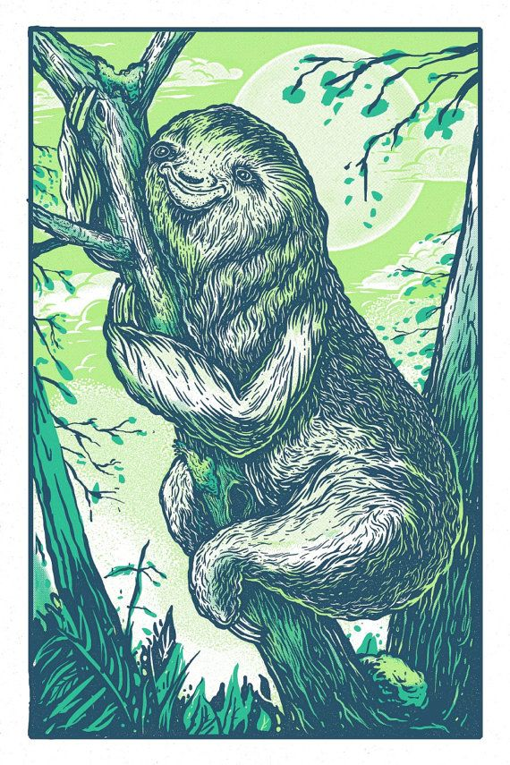 Happy Sloth  13 x 19  Siliscreen Print by QuarrelsomeYeti on Etsy