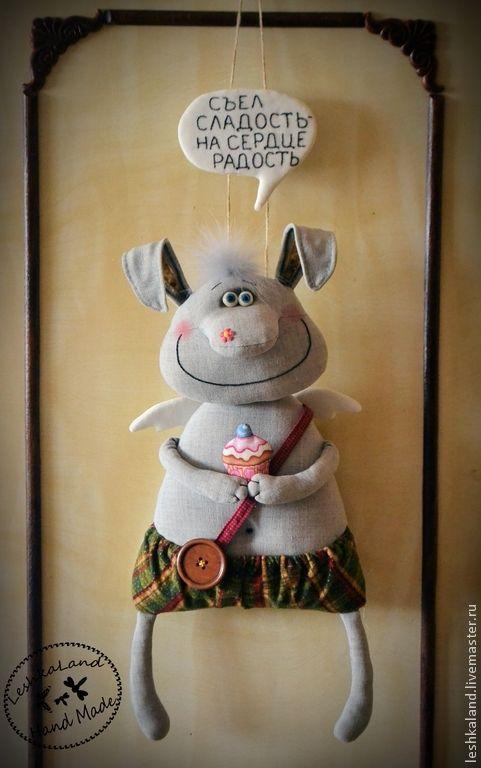 Купить Радости полные штаны ! - серый, заяц, подвеска на дверь, декор для интерьера