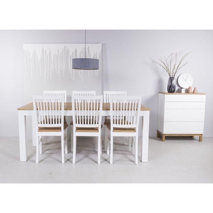 Dalarö matgrupp 180 cm bord vit/ek + 6 st Dalarö matstolar - 6490 kr - Trendrum.se