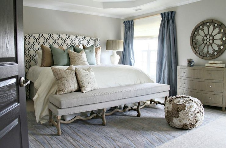 @Zinc Door posted this amazing bedroom designed by Robert Kaufman. Love the headboard & the mirror. Featuring the Natalie Limed Oak 3 Drawer Dresser from Worlds Away.: Decor Ideas, Bedrooms Colors, Blue Green, Master Bedrooms, Guest Rooms, Bedrooms Ideas, Cozy Bedrooms, Headboards Benches, Gray Wall