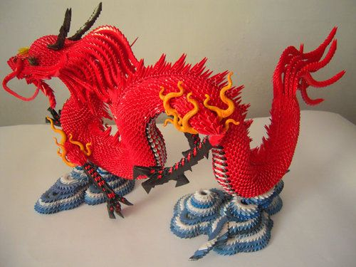 3D Origami - Dragon with Stand - papercraftcentral.net