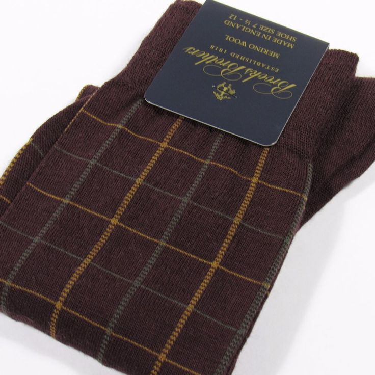 BROOKS BROTHERS Men's Wool Dress Socks Check Plaid Made in England WINE O/S NWT #BrooksBrothers #Dress