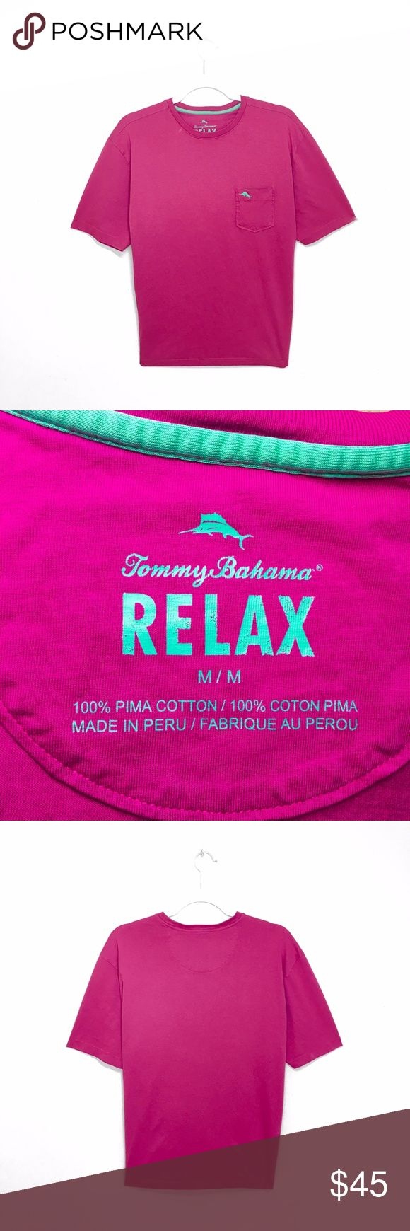 Tommy Bahama Men's Magenta Bali Pocket T-Shirt ---Excellent Condition | MSRP $65.50---  Sun-washed neon coloring brings vintage brightness to a classic pocket T-shirt, cut from ultrasoft & luxurious pima-cotton jersey.  -Relaxed fit -Chest patch pocket with logo embroidery (seafoam green) -100% pima cotton -Machine wash, tumble dry Tommy Bahama Shirts Tees - Short Sleeve