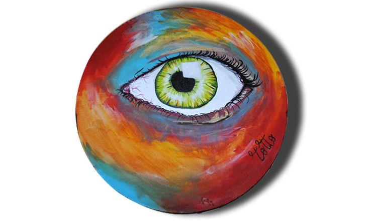 Tela tonda con occhio con sfondo colorato, by Tottò by Design, 210,00  su misshobby.com