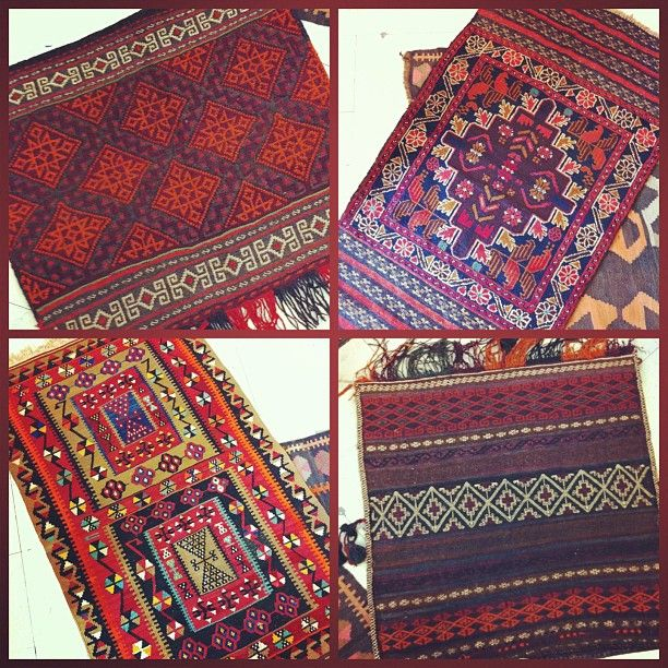 Some of the kilim rugs/saddle bags we brought in yesterday. The smaller sizes are perfect for tight spaces. #rugs #kilim #killim