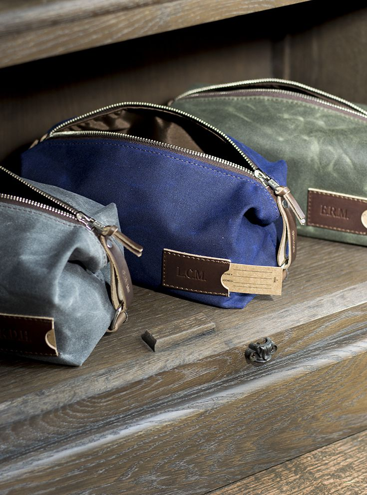 Made of waterproof canvas and premium Horween leather, these low-key yet eye-catching dopp kits are designed for the everyday man who wants to look good without coming across like he's trying too hard. Sleek yet masculine, rugged yet elegant, compact yet spacious enough to hold a comb, razor, and anything else you need to get you through the day — all made right here in the USA to guarantee the toughest performance for years on end. dopp kit | toiletry bag for men | personalized groomsmen…