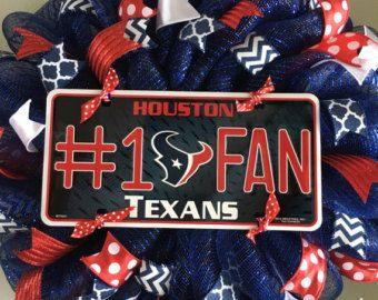 Houston Texans Sports Texas Navy Blue Mesh Wreath Door Red