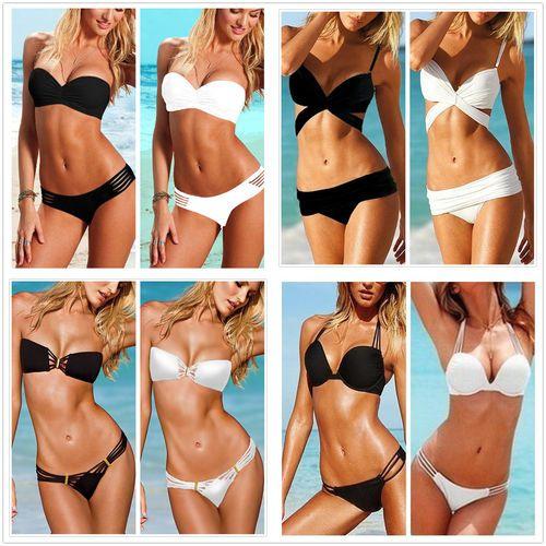 2PCS NEW Lady Sexy Swimsuit Beachwear Tankini Bikini PAD Swimwear Bathing Suit