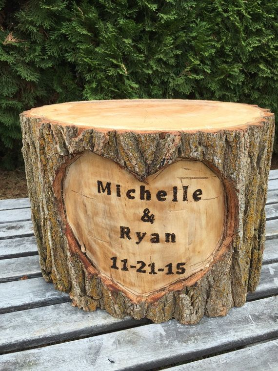 Large Log Wood Stump (16-18in) Rustic Cake Stand with wood burned Names and Date surrounded by a heart Wedding party shower wooden