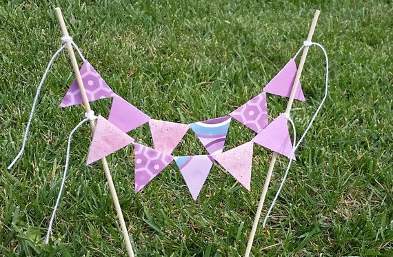Purple Lavendar Lilac Shabby Chic double line bunting birthday