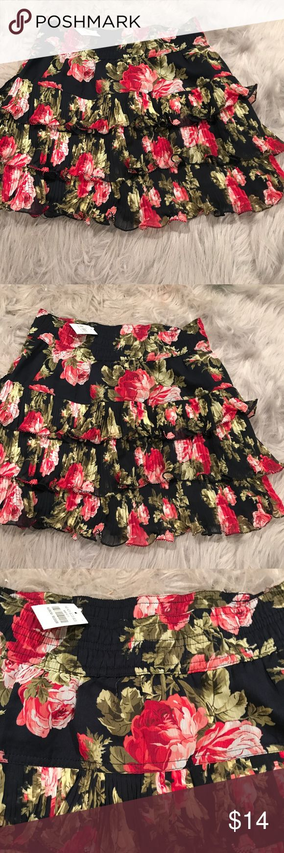 Abercrombie and fitch skirt New with tags rosette print tiered skirt from Abercrombie and Fitch. Great for fall with tights and boots, or with sandals for a casual look. Abercrombie & Fitch Skirts