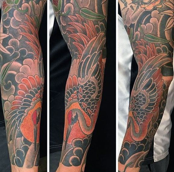 40 Japanese Crane Tattoo Designs For Men Bird Ink Ideas In 2020 Crane Tattoo Tattoo Designs Men Japanese Sleeve Tattoos