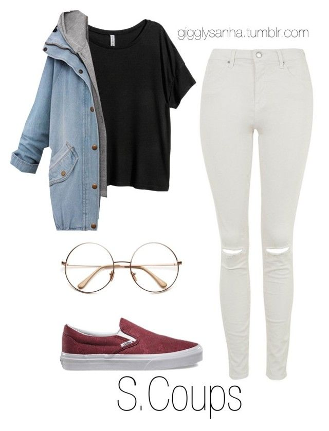"""""""Casual City Date // S.Coups"""" by suga-infires ❤ liked on Polyvore featuring Topshop, H&M and Vans"""