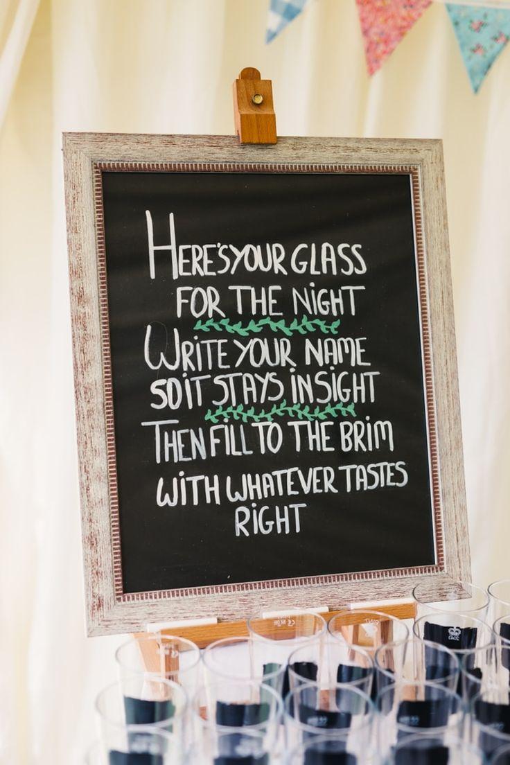 Glass Favours Boho Beer Festival Wedding http://www.emilysteve.com/
