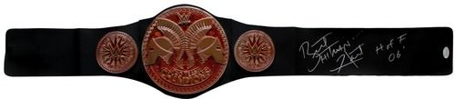 Bret The Hitman Hart Signed WWE Tag Team Champs Toy Replica Belt HOFF 06 JSA ITP