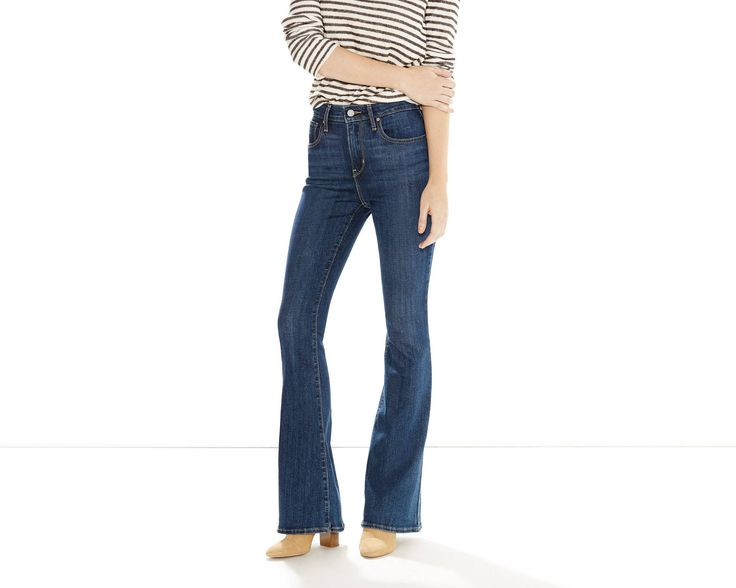 Cut with a high rise and super slim through the hip and thigh, these leg lengthening jeans feature a flared leg that echo a vintage style. Constructed with stretch denim, engineered for comfort.
