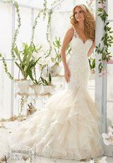 Bridal Dress: Mori Lee Bridal SPRING 2016 Collection: 2819 - Vintage Pearl and Crystal Beading on Alencon Lace Appliques Over Chantilly Lace onto an Organza and Tulle Flounced Mermaid Gown