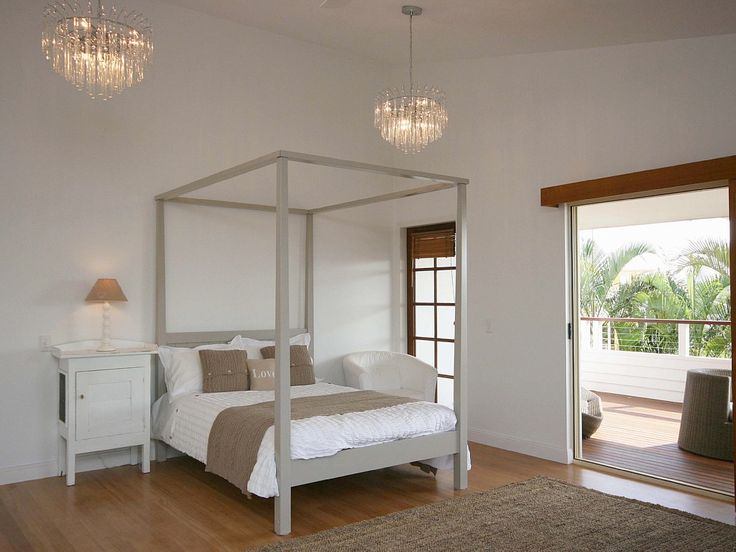 Romantic, beach chic in the bedroom of this Castaways Beach holiday house. #Noosa #holidaychic