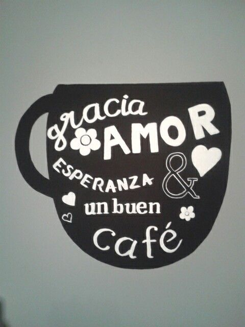 My version in Spanish of the blackboard coffee cup :) couldnt manage to create depth due to quick drying paint, but It's still pretty :)