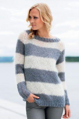 Stribet sweater - strik til hende - strik en trøje STRIK I STOF&STIL MOHAIR