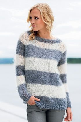 Stribet sweater - strik til hende - strik en trøje STRIK I STOF&STIL MOHAIR