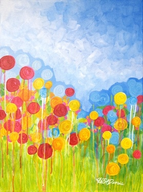 A Field of Ranunculus  #abstract #art #painting #canadianart #hollystdenis