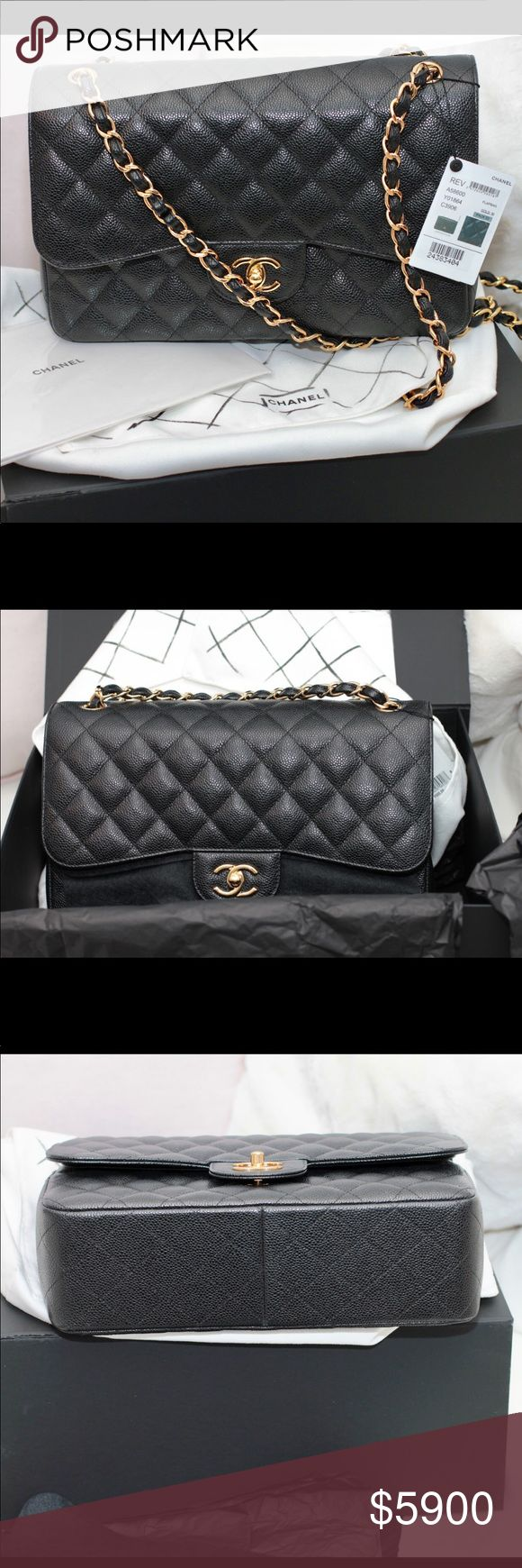Chanel Classic Jumbo Caviar leather Black with Gold Hardware CHANEL Bags Shoulder Bags