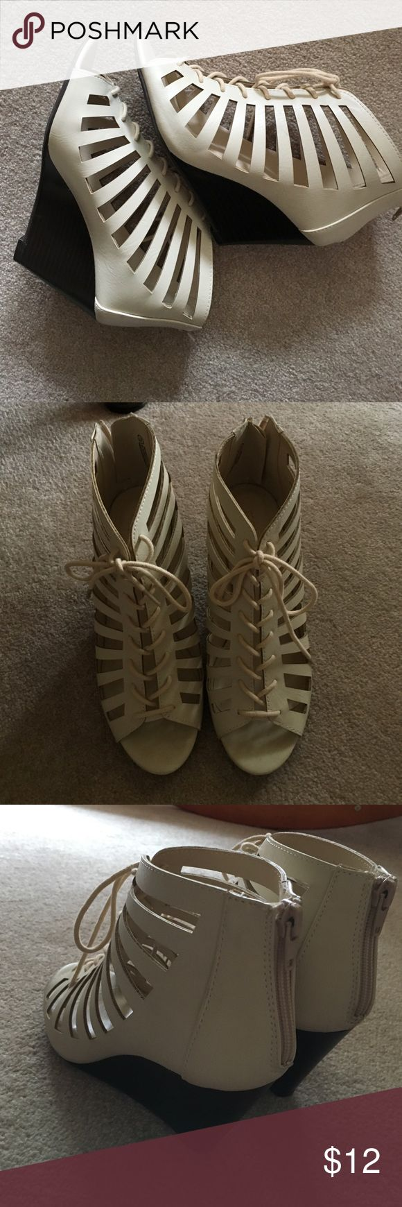 Maurice's lace up wedge shoes Never been worn- bought them to wear to a wedding that I ended up not being able to attend. Size 7.5 by Maurice's Maurices Shoes Heels