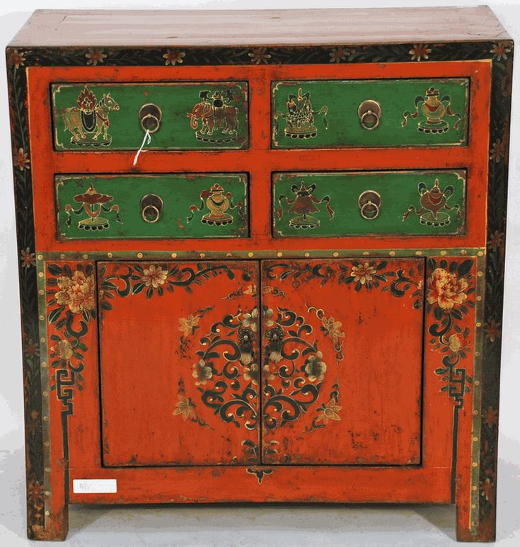 Antique Asian Furniture: Hand Painted Tibetan Style Small Cabinet From China