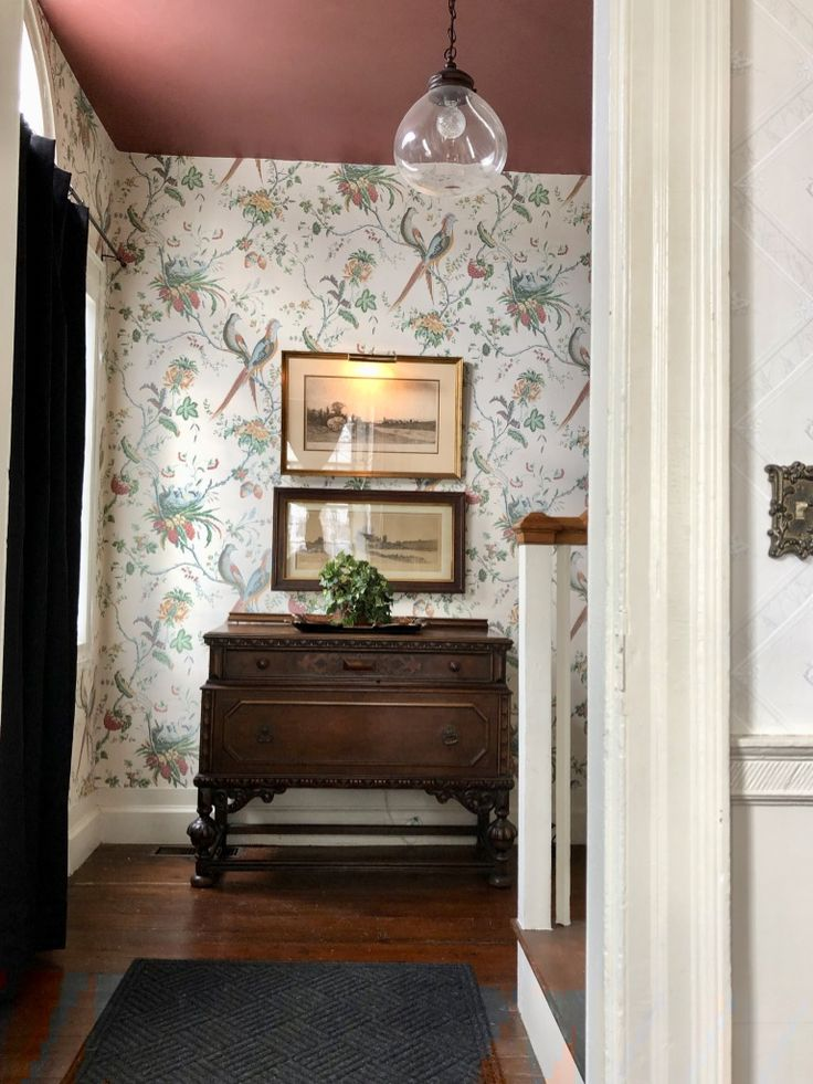 entryway, foyer, traditional wallpaper, red ceiling | Red ...