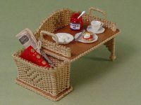 Deluxe Breakfast Tray: Petticoat Porch makes authentically designed 1/12 wicker furniture out of wood, wire and waxed cord.