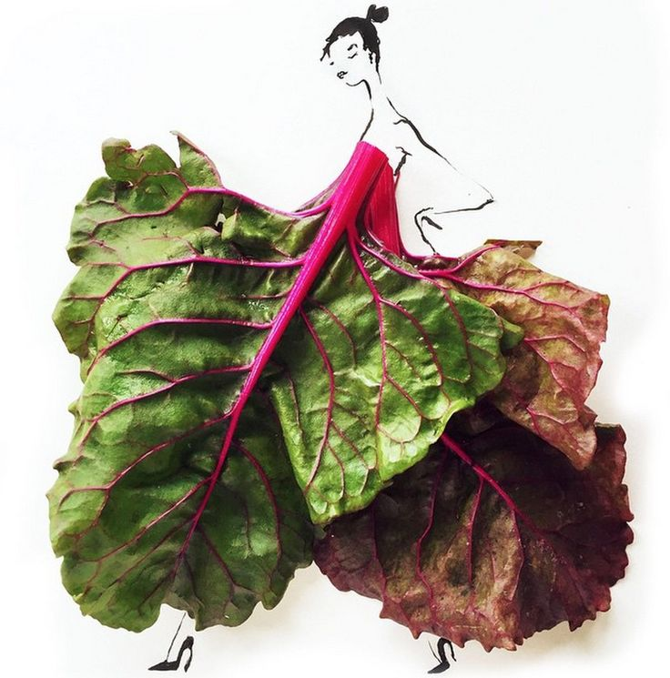 Gretchen Roers draws fashion illustrations by either utilizing colorful food items.