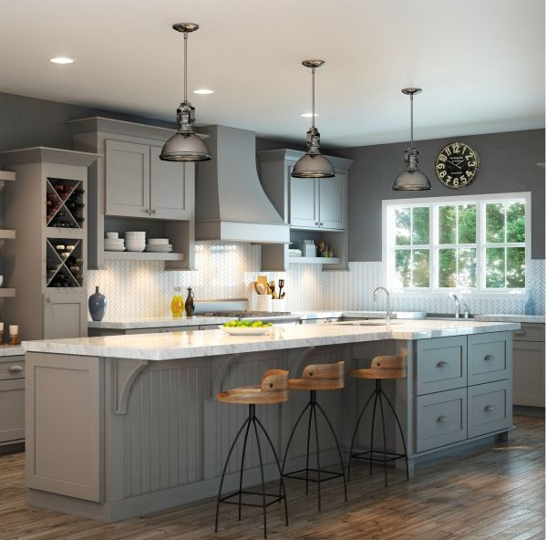 Gray Painted Kitchen Cupboards: Waypoint's Style 650F In Painted Stone