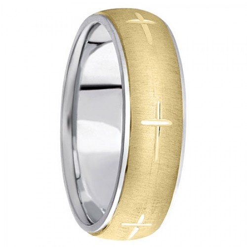 christian wedding ring in 14k yellow gold domed center 14k white gold edges and etched cross - Christian Wedding Rings