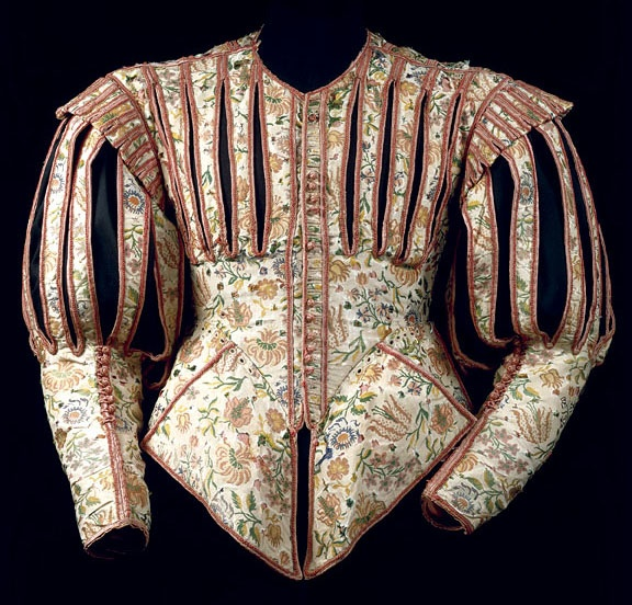 Embroidered Baroque (1620) doublet; a male version of the more common woman's Jacobean jacket. I am shaking my head at the quintessential Baroque wackiness of this thing--it's fantastic!