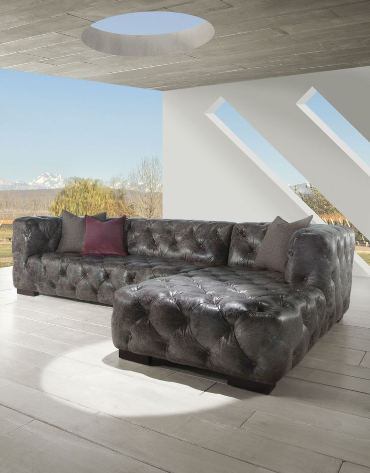 LeatherShoppes Grey Vintage Dublin Leather Chesterfield Sofa Chaise on Sale, $3,920 00 (http