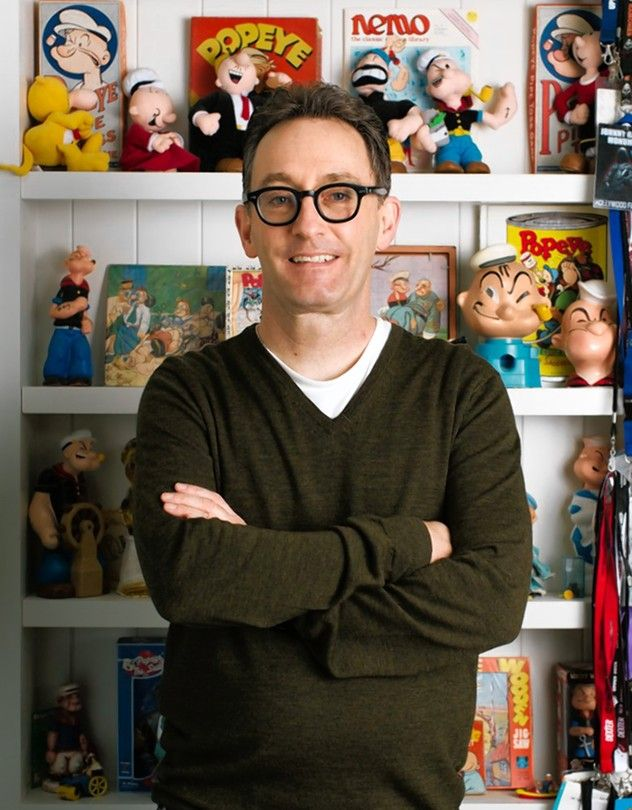 Tom Kenny in the office of his Studio City, Calif., home, with his vintage Popeye...