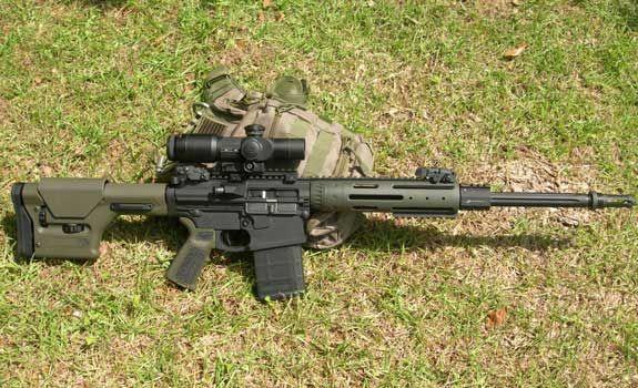 SR-25 type 308 battle rifle. http://308ar.com/XMLChanger/image15-xml.jpg
