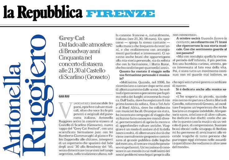 12 agosto 2017 - Sull'edizione fiorentina de La Repubblica, una bella intervista ad Antonella.