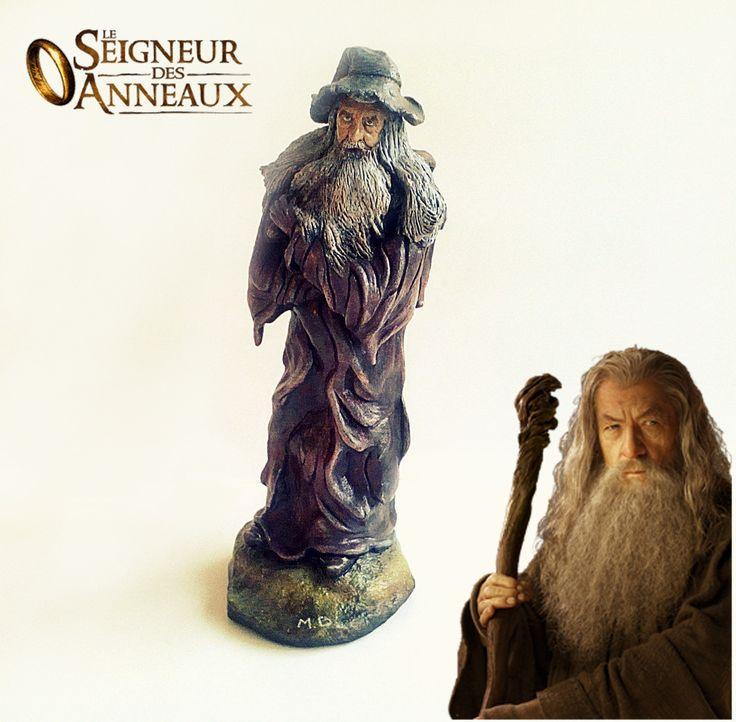 Figurine Gandalf le gris, seigneur des anneaux, en argile : Sculptures, gravures, statues par figurinesheros
