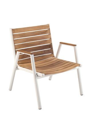 Pilotis Low armchair - Stackable - Teak Teak / White by Vlaemynck - Design furniture and decoration with Made in Design