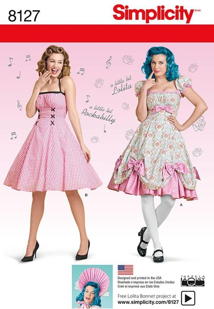 SIMPLICITY SEWING PATTERN MISSES' LOLITA BONNET ROCK & ROLL DRESS 8-24 8127