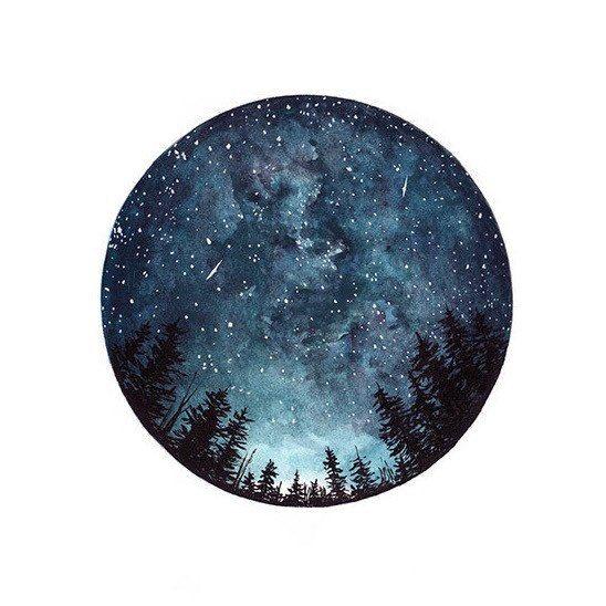 Watercolour Art Print Starry Sky Forest Art by StudioFactotumUK