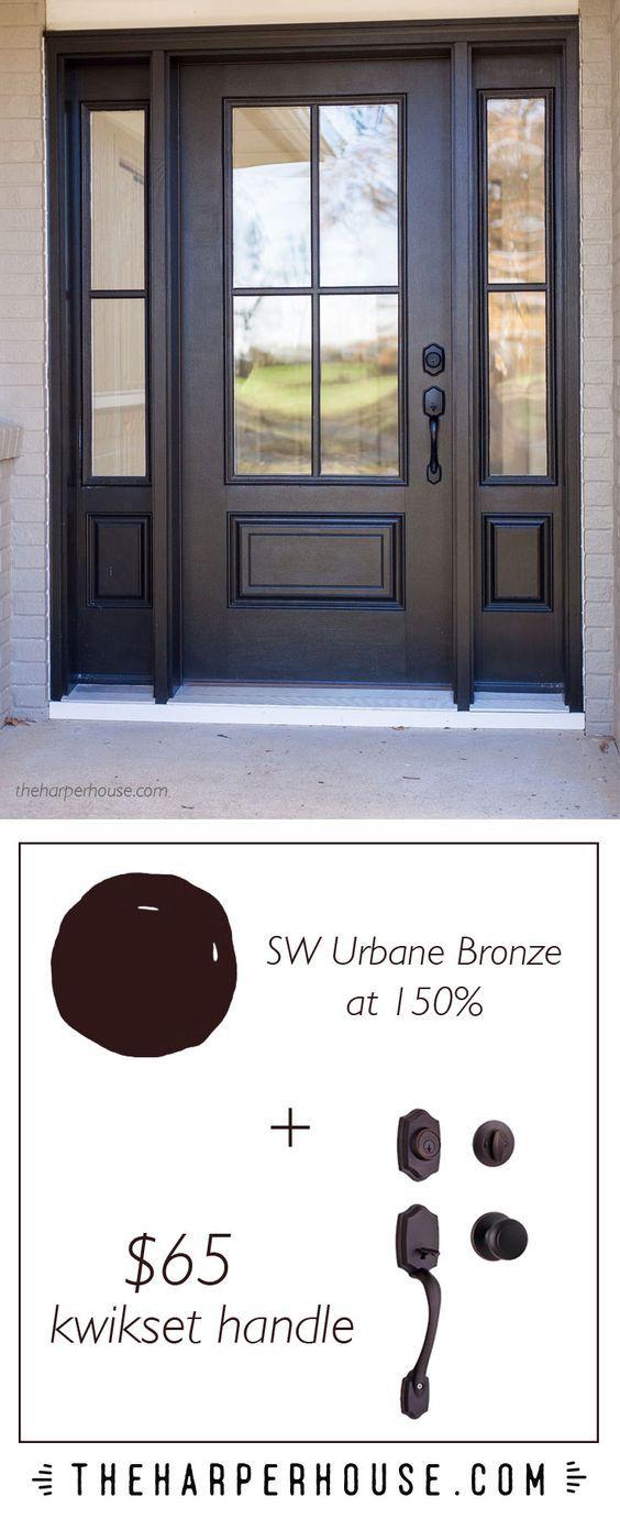 perfect combo - rich black (SW Urbane Bronze) + farmhouse style front door + affordable door handle