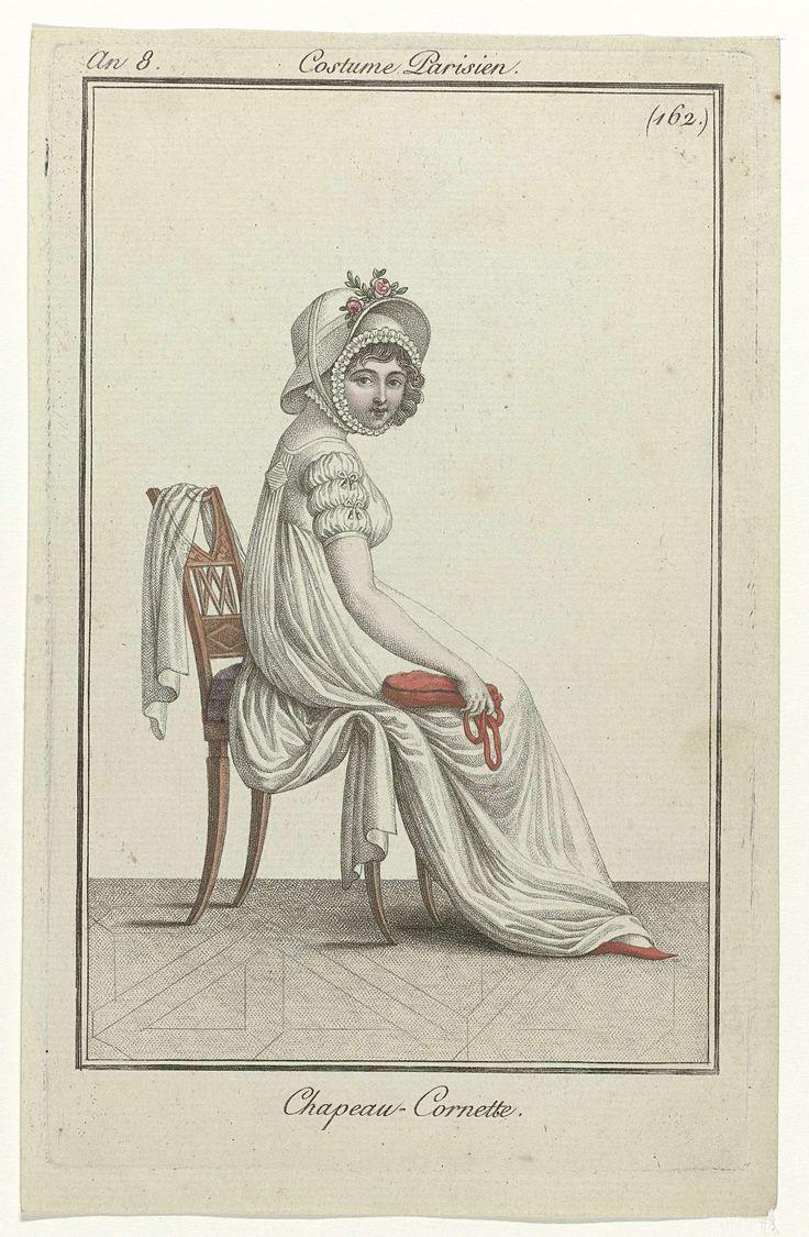 Journal des Dames et des Modes, Costume Parisien, 7 octobre 1799, An 8 (162) : Chapeau-Cornette, Anonymous, 1799