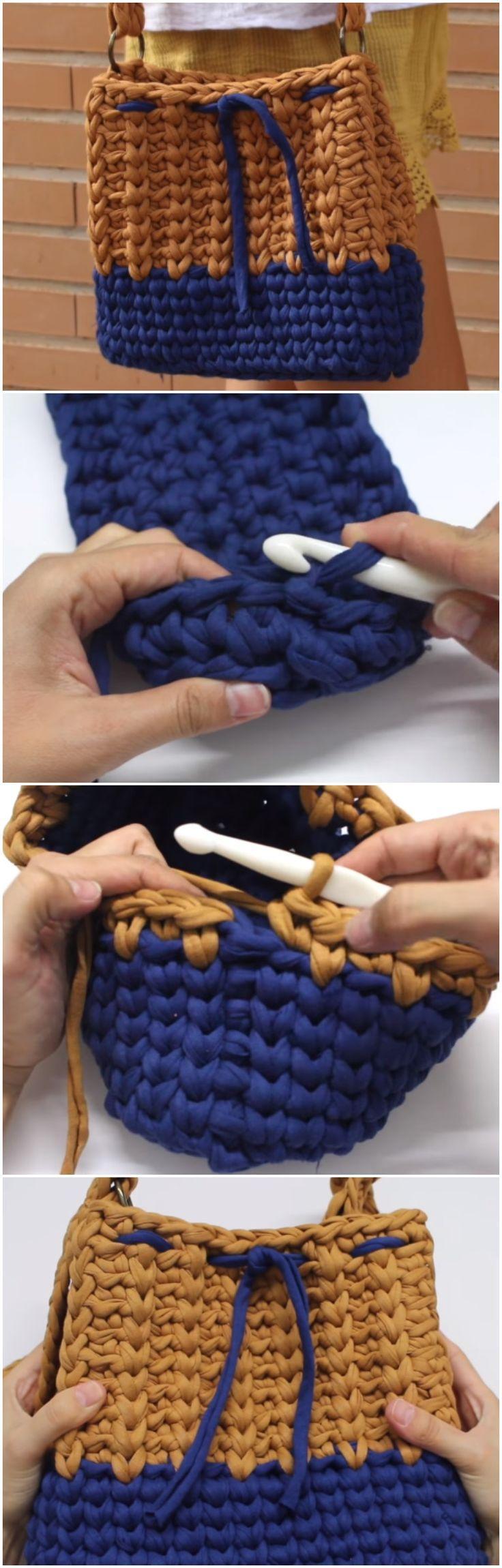 Crochet Beautiful Mustard Cloth Bag