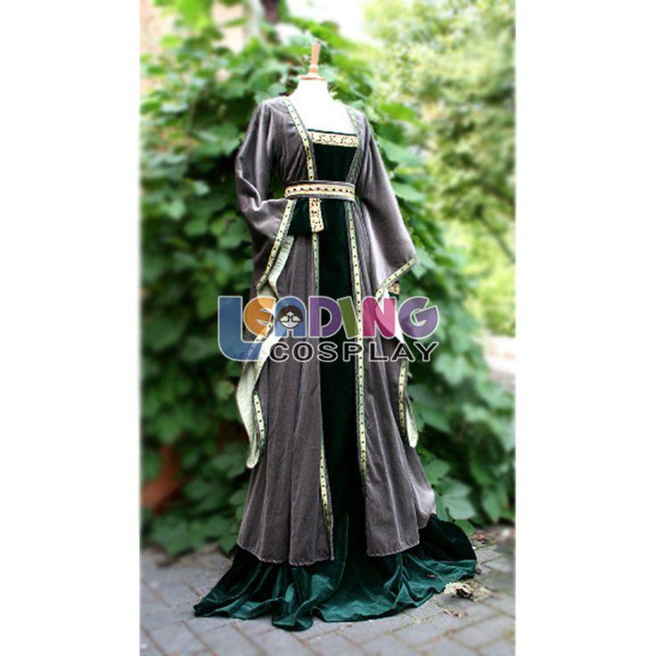 Custom-made lussuoso abito medievale guerra civile vestito di grigio e nero donne costume adulto(China (Mainland))