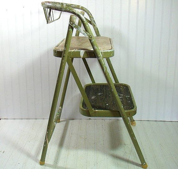 Vintage Sage Enamel Metal Folding Step Stool Retro