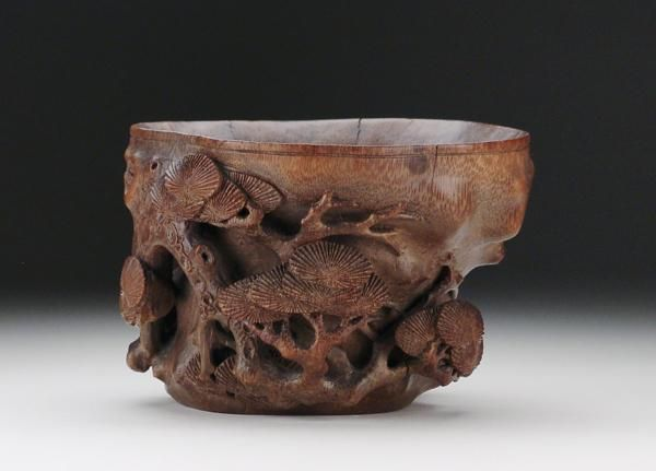Chinese Qing Dynasty Carved Bamboo Libation Cup