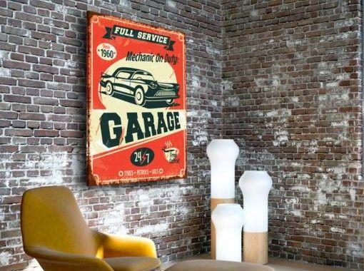 Decorazione, che sembra essere tirata fuori dai vecchi garage, metterà in evidenza originalità dell'ambiente arredato in stile vintage   #quadro #quadri #vintage #oldschool #macchina #interniinstilevintage #artgeist